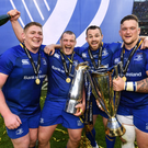 Tadhg Furlong, Jack McGrath, Cian Healy and Andrew Porter celebrating their success on Saturday