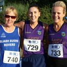 Ladies' winner Mary Gorham (centre) is flanked by Lillian Lawless (second) and Angie Redmond (third)