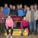 Kathleen Stamp (sponsor) presenting trophy to the Murphy syndicate, with Jim Turner (racing manager) also pictured, after Rogers Girl won the Glenbrien Kennels 525 Stake final