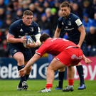 Tadhg Furlong of Leinster in action against Julien Marchand (Toulouse) in the Heineken Champions Cup game in the RDS on Saturday