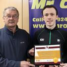 Paddy Morgan (Athletics Wexford Chairman), David McDonald of Menapians A.C., who achieved the world qualifying Under-20 standard in 100m and 200m, and Marie Mooney from Mr Oil (athlete of the month sponsors)