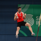 Michael Bowler celebrating at the national indoor championships earlier in the year