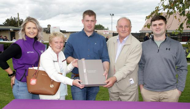 At the Menapia Motors Renault Opportunity Handicap Hurdle presentation were (from left): Emily Sweeney, Una Sweeney, Kyle Roche (Menapia Motors), Pat Sweeney and John Sweeney, representing winning horse Allduckornodinner