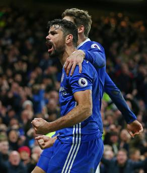 Diego Costa celebrates after being told what sort of salary he could command in China