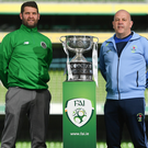 Pike Rovers manager Mike Shiels, left, with North End United manager John Godkin during the FAI Intermediate and FAI Junior Cup Finals media day at the Aviva Stadium in Dublin