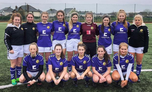 Back (from left): Shauna Redmond (Moyne Rangers), Amy Lawlor (Ross Town), Gemma Corrigan (Forth Celtic), Katie Murphy (Shelbourne United), Chloe Mythen (North End), Gráinne McCabe (Ferns United), Jasmine Martin (Adamstown), Chloe Moynihan (Bunclody), Alannah Anglim (North End). Front (from left): Niamh Millar (Corach Ramblers), Britney Conroy (Bunclody), Niamh Brown (Fastnet Rovers), Sarah Walsh (St. Joseph's), Fiona Ryan (Seaview United, capt.)