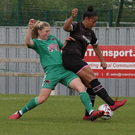 Rianna Jarrett battling with Cork City's Eabha O'Mahony