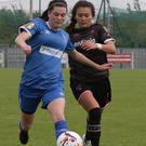 McKenna Davidson and Tara Mannix of Limerick F.C. in a race for possession