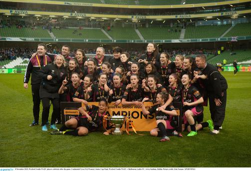 8 November 2015; Wexford Youths WAFC players celebrate after the game. Continental Tyres FAI Women's Senior Cup Final, Wexford Youths WAFC v Shelbourne Ladies FC. Aviva Stadium, Dublin. Picture credit: Eóin Noonan / SPORTSFILE