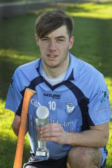 Wexford People Coiste na Nog rionn 2 minor hurling final played at, St. Patrick's Park; Roy Nunn, St. Annes who received a hurling skills achievement award after the game.