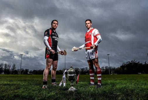 24 November 2015; Cualas Darragh OConnell is pictured alongside Paul Roche from Oulart the Ballagh ahead of the AIB GAA Leinster Senior Hurling Club Championship Final on the 29th of November in Dr Cullen Park at 2pm. For exclusive content throughout the AIB Club Championships follow @AIB_GAA and facebook.com/AIBGAA. Clanna Gael GAA Club, Ringsend, Dublin 4. Picture credit: Ramsey Cardy / SPORTSFILE *** NO REPRODUCTION FEE ***
