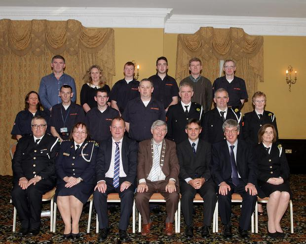 The Annual Civil Defence Awards in The Riverbank House Hotel on Sunday night. The Gorey Group with Gabrielle Willis, Tom Enright Ce Wexford County Council, Cllt Tony Dempsey Chairman Wexford County Council, Stephen Hall Principal Officer Civil Defence and John Carley dirctor of Services Wexford County Council.