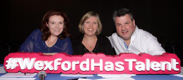 At the Sarsfields GAA club / People Newspaper Sponsored Wexford Has Talent in Clayton White Hotel at the weekend were judges for Saturday Vicky Barron, Anita Cullen and George Lawlor.