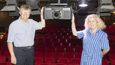 Mary O'Hehir & Roddy Quinn centre stage with new projector.