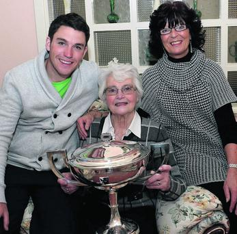 The new West of Ireland golf champion, Rory McNamara, pictured with his grandmother, Dell Rogers, and his mum, Geraldine.