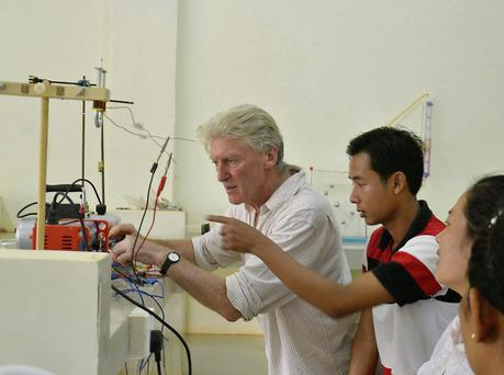 John O'Dea in a science lab workshop with Cambodian teachers.