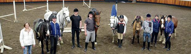 Noel O'Hara and Arrow, Darren Gurhy and Arnie, David O'Rourke and Cruise On, Martha Fitzpatrick on Polo, Shane McGuiness and Bambi, Samantha Colburn on Jig Saw, some of the participants in the NLN Horsemanship programme pictured with Gwen McDermott and Grainne McGarry at Sligo Riding Centre.