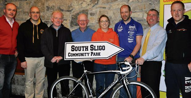 Pictured at the launch of the South Sligo Community Park cycle from the Aviva Stadium, Dublin, to Tubbercurry were from left: Romuald Mullarkey, Alan Guckian, Michael Kelly, James Walsh, Louise Kilbane, Donal Harrington, Gearoid Surlis and Tony O'Brien.