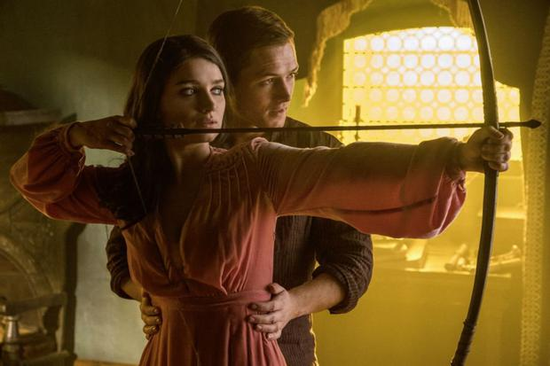 Eve Hewson and Taron Egerton as Maid Marian and Robin Hood in Robin Hood
