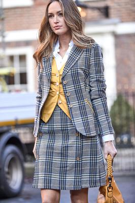 Cotton Waistcoat in Yellow, £40; Quirky Check Jacket, £70; Quirky Check Skirt, £40; Simon's Vintage Style Blouse, £40; Gorgeous Flower Applique Bag (out of stock), available from Joe Browns. Photo: PA Photo/Handout