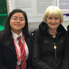 Former MEP and science teacher Marian Harkin made her annual visit to the 56th BT Young Scientist & Technology Exhibition at the RDS, Dublin. She is pictured with Tresha Laime Dolera (left) and Teresa Devaney, Mercy College where Marian taught science for many years. Their project was entitled 'Seeing is Believing' which focused on the region so four eyes where optic nerve and blood vessels leave the eye – also known as the blind spot