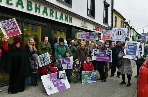 Ballymote residents protesting at the cutbacks to opening hours at Ballymote library