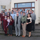 Rev Stephen and Rev Jen McWhirter of Kilmoremoy Union with their daughter Kizzy pictured during their recent visit to 3rd year students in Jesus and Mary Secondary School Enniscrone. Their visit was organised to speak to the students about the differences and similarities in preaching between the Catholic church and the Church of Ireland