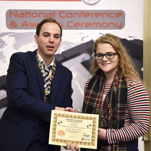 A huge congratulations is extended to Leona McSharry on being awarded third place at this years Engineering Technology Teachers Association awards. The award recognises the hard work and dedication required to produce a Higher Level Project for Leaving Certificate Engineering with Leona's ranked third out of over 4500 projects. Troy Jackson was also awarded in the top ten Ordinary Level projects. Leona is pictured with Mr. Ronan McBrearty, chairman of the ETTA. This award continues the strong history of award winning Engineering projects, and is the third national award in the last 4 years