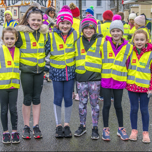 Some of the younger participants in the Operation Transformation 5k walk held in Tubbercurry last Saturday morning and led by local leader, Paul Murphy. Pic: Tom Callanan