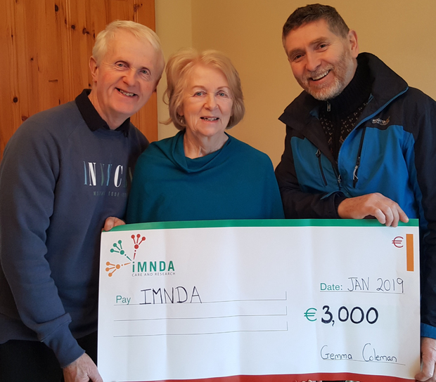 A recent fundraiser organised by Gemma Coleman of Dowras, Tourlestrane, raised in excess of €3,000 for the Irish Moror Neuron Disease Association. The funds were raised through a number of activities including collection points at Mid West Radio, Gillespies of Tubbercurry and a House Concert at Moy River Folk Club in Cloonacool. From left: Pat Feeley, Gemma Coleman and Pat McCarrick