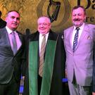 Sligo/Leitrim Fianna Fail TD Marc MacSharry with his father Ray and the Ceann Comhairle of Dáil Eireann and Cathaoirleach of the Seanad at the 100 year commemoration event in the Round Room of the Mansion House