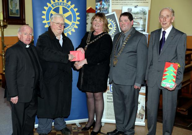 An Interdenominational Service was recently held in St Colmcilles Church , Rathcormac following the Rotary Club of Sligo Annual Remembrance Tree Collection in December. The funds collected totalling €15,848 were divided between St Vincent de Paul and North West Hospice. Pictured above (L-R): Canon Tom Hever, Coleman Carroll ( St Vincent de Paul), Una Dunne Shannon ( president Rotary Club of Sligo), Martin Baker ( Caryaoirleach Sligo County Council) and Sean Doyle ( Rotary Club of Sligo