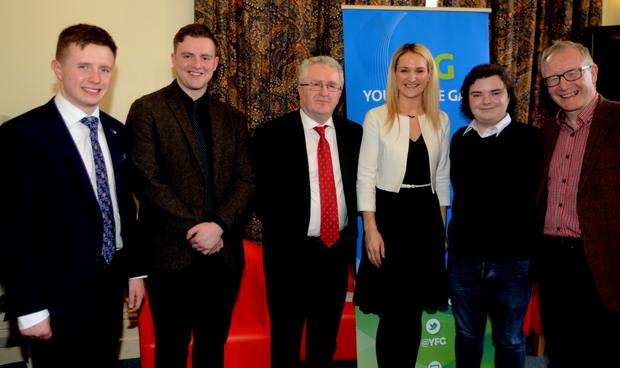 Minister For European Affairs, Helen McEntee T.D. with Seamus Woulfe SC Attorney General at the launch of the first Branch of Young Fine Gael in Queens University Belfast. Also included is Jude Perry, Ballymote, Sligo, a student at Queens (first on left) and Senator Frank Feighan (far right).