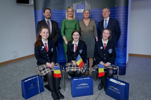 Students, Eve Lunn , Catherine Flanagan and Ciara Rooney from Mercy College, Sligo who took part in a Model Council of the European Union debate at Dublin Castle. Also included are: James Temple Smithson, Head of the European Parliament office in Ireland; Helen McEntee T.D., Minister for European Affairs; Her Excellency Mrs Manuela Breazu, Ambassador of Romania and Gerry Kiely, Head of the European Commission Representation in Ireland.