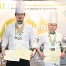 Pictured are Kevin Buchanan (Sligo town) and Fionn Feeley (Tubbercurry) Culinary Arts Students at the LYIT School of Tourism, Killybegs who competed in Chef Ireland at CATEX 2019 and won a number of medals including gold for their cooking skills