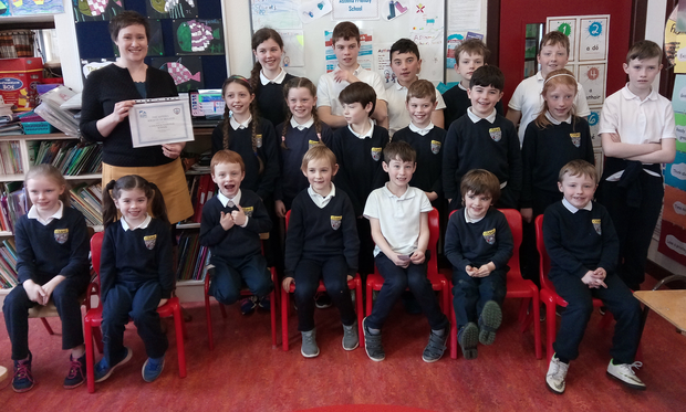 Coolbock N.S. received a national award from The Asthma Society of Ireland last Thursday. Sarah O'Connor, CEO of the Asthma Society, travelled from Dublin to present the silver award to the pupils in recognition of all their hard work in becoming an Asthma Friendly School. She was very impressed by the level of knowledge and awareness of asthma that the pupils have. The children were very happy with their award and enjoyed meeting Sarah