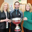 Past pupil of St.Mary's College Ballisodare Gary Cadden with teachers Marie Casserly and Aisling Cox at the Civic Reception for the winners of the Lory Meagher Cup