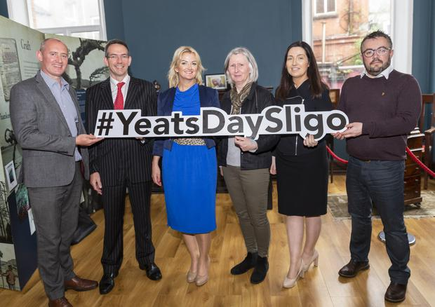 Pictured at the launch of Yeats Day were Chris Gonley, LEADER; Rodger Murray, Callan Tansey; Loraine McDonnell, General Manager The Sligo Champion; Susan O'Keefe, Director Yeats Society; Caroline McLaughlin, Callan Tansey and Ciaran Byrne, StoryLab