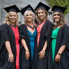 Drs Kate Mulgannon from Renmore, Galway City; Caoimhe Hynes from Dromore West, Co. Sligo; Laura Mangan from Kenagh, Co. Longford; and Rachel McLoughlin from Inishowen, Co. Donegal, were conferred with an Honours Bachelor of Medicine, Bachelor of Surgery, Bachelor of Obstetrics (MB, BCh,BAO) degree at NUI Galway