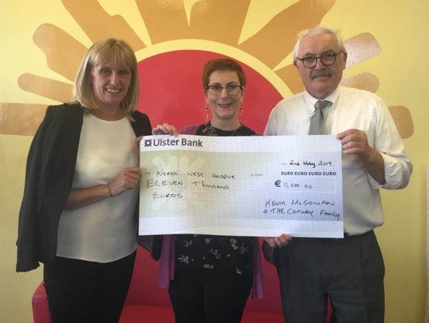 Kevin McGowan and Margaret Conway formerly of Dromore West, now living in London recently donated €11,000 to the North West Hospice in memory of Margaret's brother Martin. They would like to particularly acknowledge the McGoldrick brother of Sooey Sligo, in helping them raise this amount
