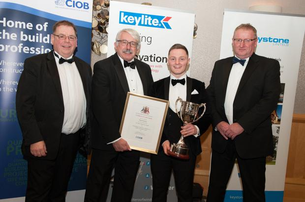 Shane Kennedy (second from right) from Chafffpool, Tubbercurry, who was awarded the 'Joe White Perpetual Memorial Cup' from the Chartered Institute of Building (CIOB) at the CIOB annual dinner dance, with (from left) Sean O' Brien, CIOB Belfast Hub Committee; Chris Blythe OBE, Chief Executive of CIOB and Gary Blair Chairman of CIOB Belfast Hub. Shane's parents are John and Rita Kennedy