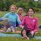 Local people enjoying International Yoga Day in Doorly Park