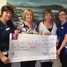 Jill Cullen,Ann Kelly, Rosemary Uí Chonaill and Olivia O'Grady at the presentation of proceeds of fundraising for SHOUT in the Clubhouse bar and restaurant, Dromahair
