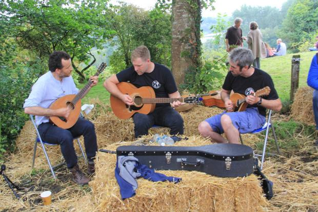 Musicians providing entertainment at the inaugural Woodland Festival in the Killegar Estate, Carrigallen.