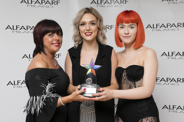 Sorcha Codd, Kreation Hairdressing, Abbey Street, Sligo was a third place runner-up in the Junior category at the ALFAPARF Milano Fantastic Hairdresser Awards 2019 at the RDS, Dublin. Pictured are: Laura Gethins, ALFAPARF Milano, Sorcha Codd, Kreation Salon, Sligo and model, Amy Lavin
