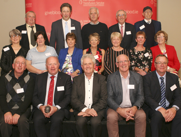 Sligo and Leitrim recipients of awards at the 2019 Irish Blood Transfusion Service ceremony held in the McWilliam Hotel, Claremorris recently. Back row: Philip Gorman, John O'Donnell, Ed Smith, Padraic Neary and Tom Towey, Middle row: Annie Keane, Annette Gardiner, Evelyn Towey, Concepta Hargadon, Breda Devaney, Ann Conheady and Loretta Neary. Front: Thomas Mahon, Michael McGowan, Damien Gilheady, Martin Stenson and Martin Connolly