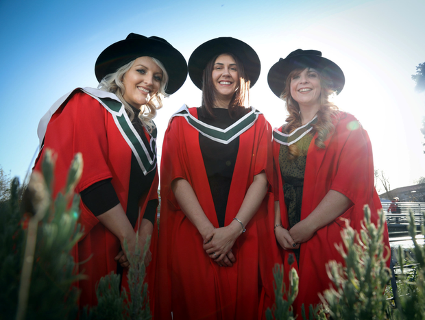 Noelle Sammon from Castlebaldwin (centre) with Lynda Naughton from Claremorris, Co. Mayo and Ailíse Burke from Ballinrobe, Co. Mayo, who were conferred with Doctor of Psychological Science from NUI Galway