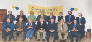 BLAST FROM THE PAST - The Manorhamilton GAA Football Team of the 1900-1999 Millennium which was honoured at function that was hosted in early 2000 by Glencar/Manorhamilton GAA Club. Front Row: L-R Sean Boylan goalkeeper, Patsy McBride RIP right fullback, Mick Kilkenny fullback (award accepted by his nephew, Patsy Kilkenny), Jim Gallagher left fullback, Tom McHugh right halfback, Thady McTernan centre-back, Kieran Rooney left halfback. Back Row: L-R George Ormbsy midfield (award accepted by his son, Frankie), Dan Meehan midfield, Fr. Harry O'Carroll right half-forward (award accepted by his cousin, Michael Keaney), Jimmy O'Donnell centre-forward, Mick Lynch left half-forward (award accepted by Padraig McKeon), Aiden Rooney right full-forward, Dessie McNulty full-forward, Kevin Rooney, left-full forward.