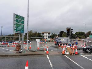 A section of the ongoing road works at Hughes Bridge, Sligo