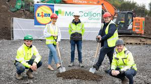 Turning the sod on the new store were:Lidl representatives Enda McTiernan (Construction Project Manager), Laura Galligan (Sales Organisation Manager) and Liam Mannion (Lidl Sligo Store Manager), Tom Doherty (McCallion Site Manager) and Sean McDaid (McCallion Project Manager).